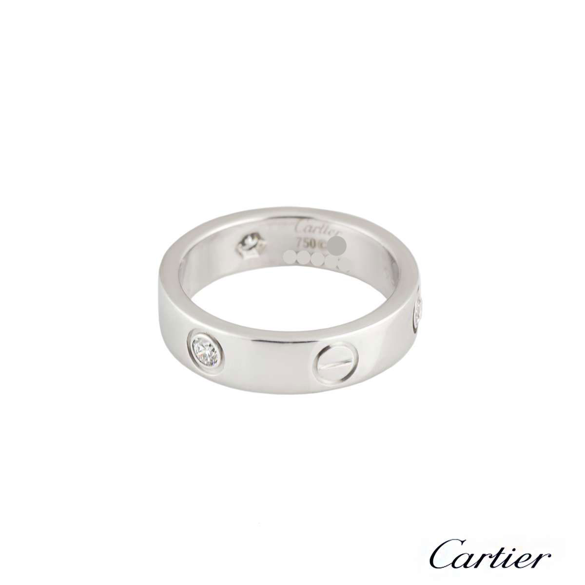 Cartier White Gold Half Diamond Love Ring Size 60 B4032560